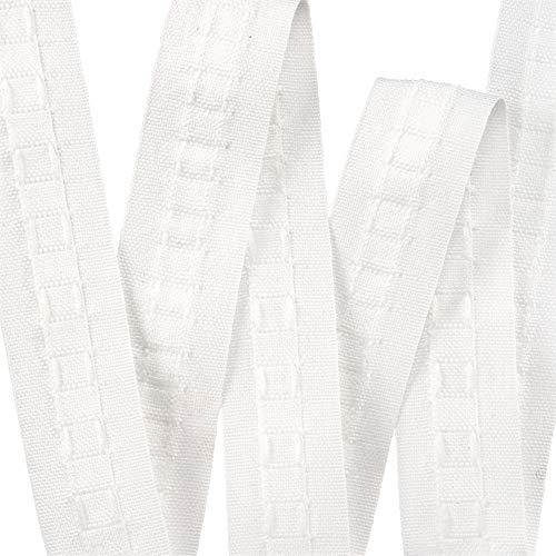 Cinta superior para cortina fruncida (25 mm, 10 metros, extraíble), lápiz blanco