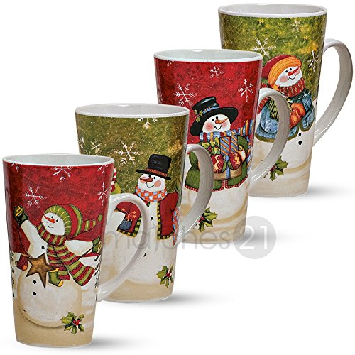 matches21 Große XXL Jumbo Becher Tassen Weihnachtsmotiv Schneemann 4-tlg. Set 15cm / 500ml Keramik grün rot
