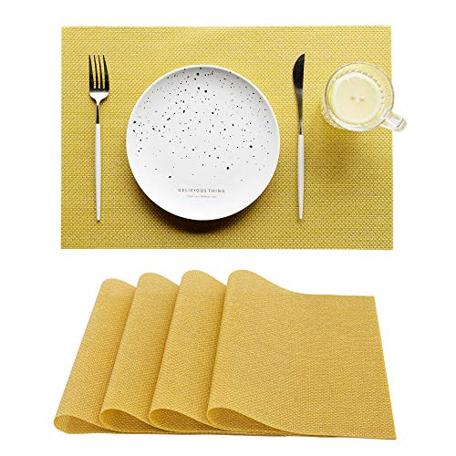 RECYCO ランチョンマット プレースマット おしゃれ 撥水 防汚 断熱 お手入れ簡単 4枚セット摩擦耐える 飾り 華やか PVC製テーブルマット 家庭 レストラン用 子供 大人対応 スパンコール イエロー