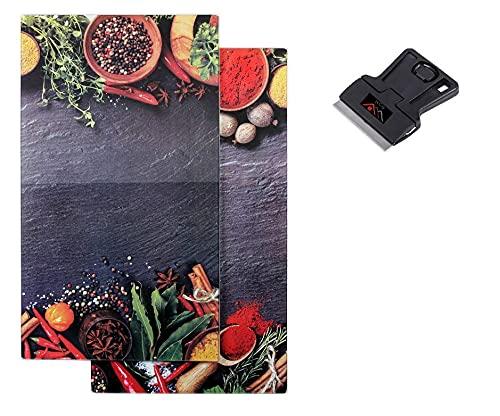 2 x Glas Herdabdeckplatte Herdabdeckung Schneidebrett Abdeckplatte für Ceranfeld Kochfeld Design Gewürze und Kräuter plus HCH Kochfeldschaber