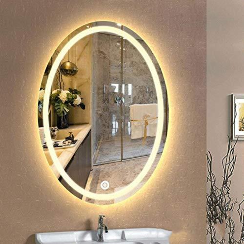 Badspiegel mit LED Beleuchtung Wandspiegel LED-Leuchtbadezimmerspiegel Oval Makeup Rasierspiegel Wasserdichte Wandspiegel mit Anti-Beschlag-Noten-Schalter ( Color : Warm Light , Size : 600*800mm )