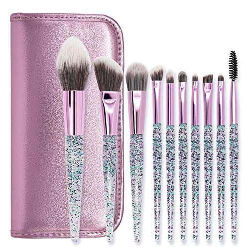BABIFIS Pinceaux de Maquillage, 10 Portable Cristal Acrylique Violet Tube en Aluminium Superfine Fibres synthétiques Pinceaux Yeux Visage C(10 Brushes+Purple Zipper Bag)