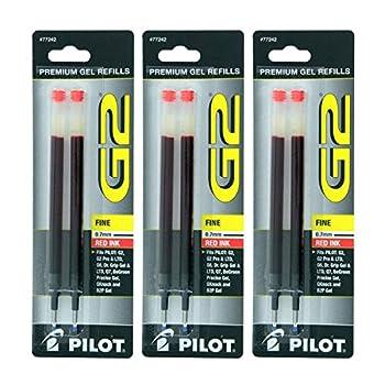 Pilot G2 Dr Grip Gel/Ltd ExecuGel G6 Q7 Rollerball Gel Ink Pen Refills Red 7 mm 6 Pack