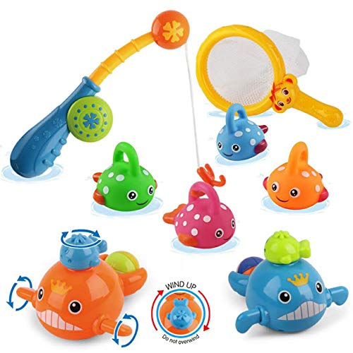 liberty imports baby bath toys Dwi Dowellin Bath Toys Mold Free Fishing Games Swimming Whales BPA Free Water Table Pool Bath Time Bathtub Tub Toy for Toddlers Baby Kids Infant Girls Boys Age 1 2 3 4 5 6 Years Old Bathroom Fish Set