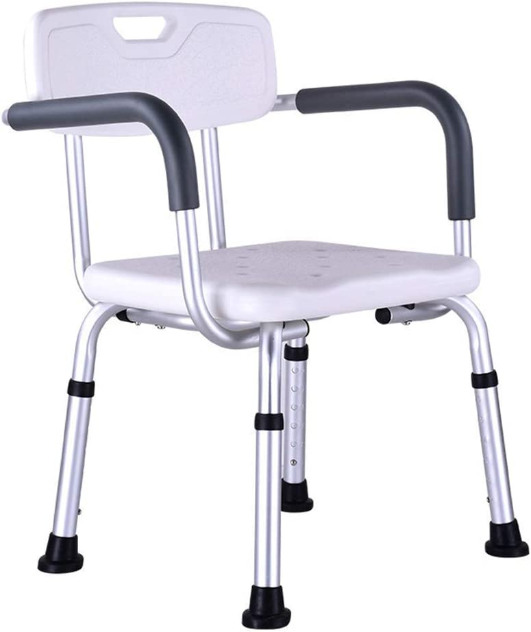 HIGHKAS Silla de Ducha con Respaldo por Silla de bañera con Brazos, Asiento de baño médico Ajustable para discapacitados, Personas Mayores