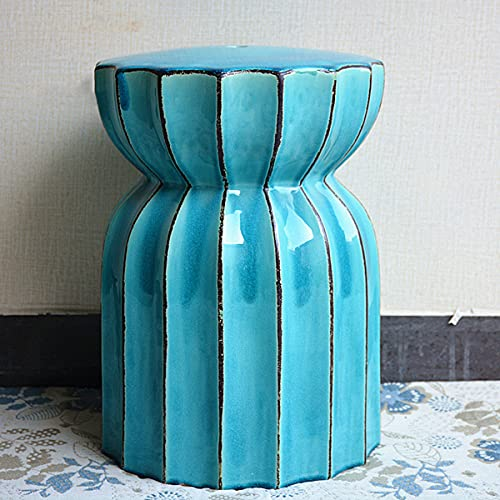 WLH Creative Face Porcelain Stool Cool Stool Low Pier Ceramic Ancient Stool Ceramic Stool(44X33CM)(Color:D)