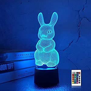 3D Rabbit Lamp Night Light 3D Illusion lamp for Kids, 16 Colors Changing with Remote, Kids Bedroom Decor as Xmas Holiday Birthday Gifts for Boys Girls