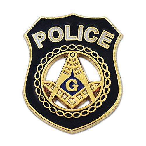 Police Square & Compass Masonic Lapel Pin - [Black & Gold][1'' Tall]