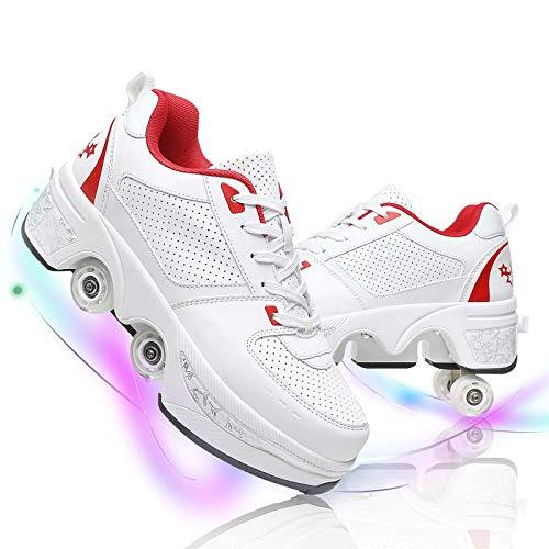 Fbestxie Polea Zapatos para Hombres Mujeres Cuatro Ruedas Ajustables Deformación Patines De Ruedas Zapatos Caminar Automáticos para Deportes Al Aire Libre,White Red,36