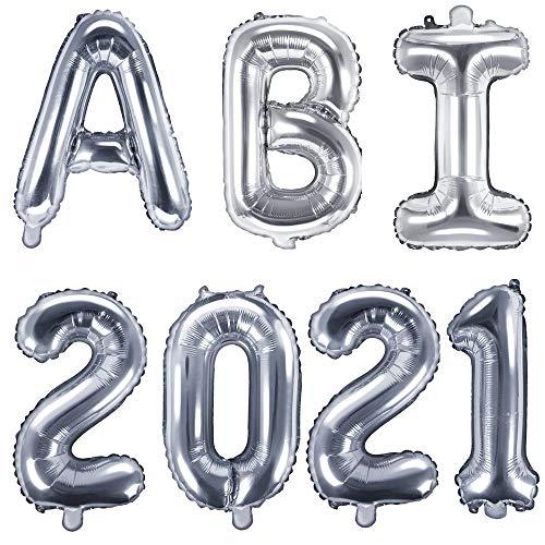 XXL Folien-Ballons ABI 2021 in silber Buchstaben-Girlande Luft-Ballons Schriftzug Höhe 35cm Abitur Schul-Abschluss Abi-Party Feier Schul-Ende Gymansium Matura Diplom Reife-Prüfung Raum-Deko-ration