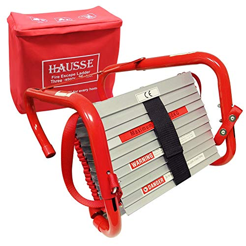 Hausse Retractable 3 Story Fire Escape Ladder, 25 Feet
