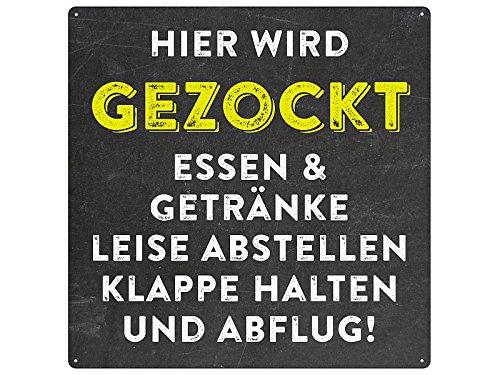 20x20cm Türschild HIER WIRD GEZOCKT Spielzimmer Blechschild Zocker gaming