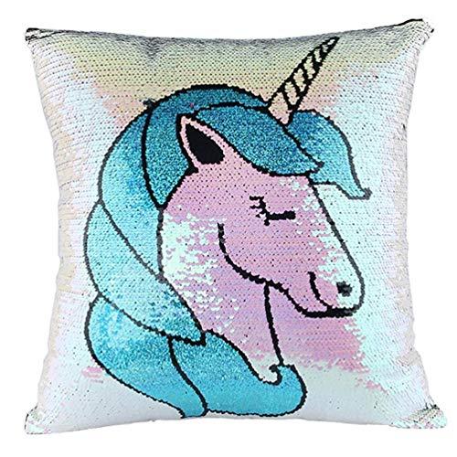 MICHAELA BLAKE Unicorn Arcobaleno Mermaid Paillettes o un'immagine Decorativo Doppio Colore Cassa tiro Cuscino