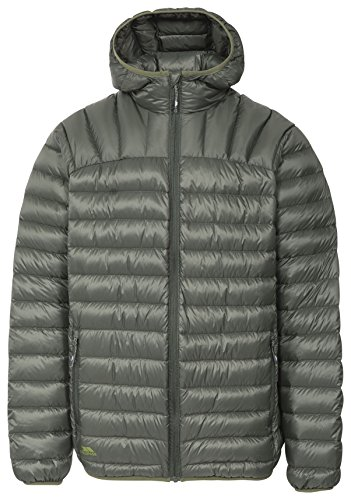 Trespass Romano, Olive, XL, Zusammenrollbare Ultraleichte Warme Daunenjacke mit Kapuze, 90% Daunen für Herren, X-Large, Grün