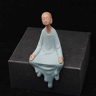 ZLBYB Buddha Statues Ceramic Small Monk Teapet Purple Sand Figurines Buddhism Home Decor Table Decoration (Color : A)