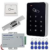 KDL Kit Complet de système de contrôle d'accès RFID Clavier Autonome avec Verrouillage de gâche électrique de Type NO, Alimentation DC12V / 3A, Interrupteur de Porte, 10pcs étiquettes de clé RFID