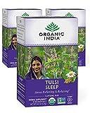 Organic India Tulsi Sleep Herbal Tea - Stress Relieving & Relaxing, Immune Support, Balances Sleep Cycles, Vegan, USDA Certified Organic, Non-GMO, Caffeine-Free - 18 Infusion Bags, 3 Pack