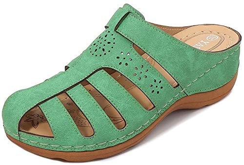 Sandalias Mujer Planas Cómodos, Zapatos de Verano Talón Pendiente Bohemias Elegant Zapatos de Playa Moda Fiesta Bar, Fiesta de Baile, Vestido de Noche, Boda,Verde,39