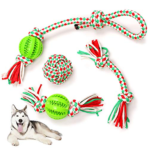 Hundespielzeug Seil Set, 4 Stück Interaktives Spielzeug Hund Kauspielzeug Seil mit Ball Unzerstörbar, Tauziehen Seil für Große und Mittlere Hund, Aggressive Kauen - Zahnreinigung Geeignet
