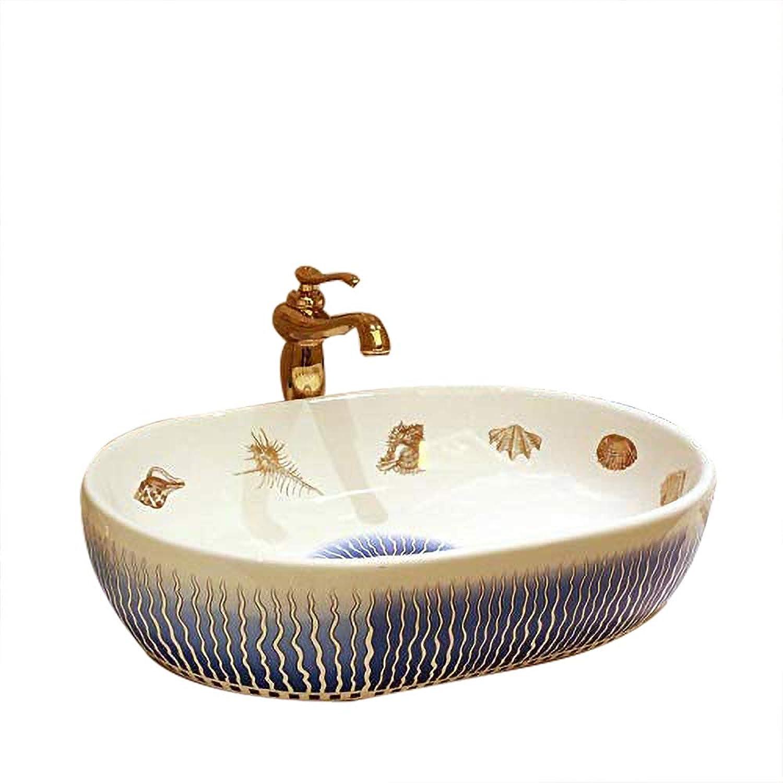 Mediterranean European Vintage Style Oval Ceramic Bathroom Sink Hand Wash Flower Shape 2