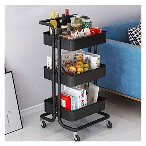 EKN Carro Mltiusos de Cocina Servicio Cocina Carrito 3-Nivel Auxiliar Verdulero Frutero Carrito de Almacenamiento para Cocina Oficina Dormitorio Cuarto Bebés (Color : Black)