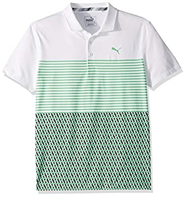 Puma Golf Boys 2019 Road Map Polo, Bright White-Irish Green, Medium