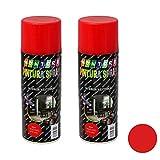 Montoro - Pack de 2 botes de pintura en spray Rojo Vivo A04 400 ml