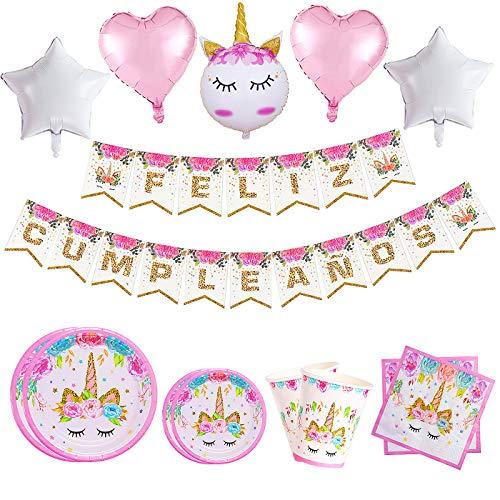 79 Piezas–Vajilla Diseño de Unicornio Desechable para 12-16 personas- Perfecto para decoraciones de fiesta de cumpleaños para niñas-Incluye platos,servilletas,vasos,guirnalda,globos y cinta de papel