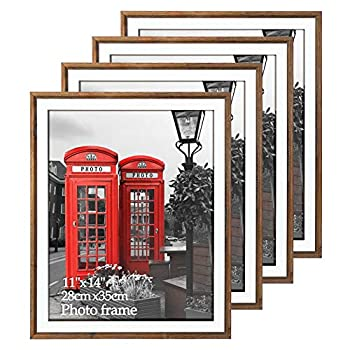 EdenseeLake 11x14 Picture Frames Set of 4 Rustic Barn Weathered Brown Frame Set for Wall Mounting