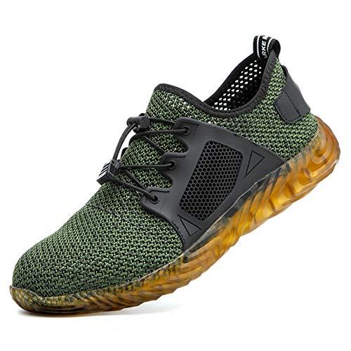 SKTCNB Zapatos de seguridad para hombre con amortiguación, ligeros, deportivos y transpirables, con puntera de acero, antideslizantes., color Verde, talla 37 EU