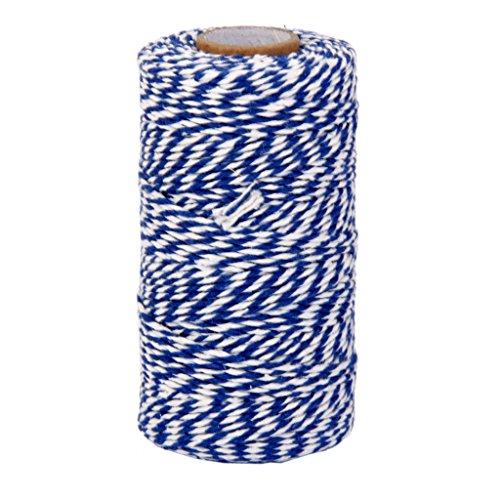 100m Cordon de Coton Ficelle Décoraion pour Emballage Cadeau Artisanat - Bleu et Blanc