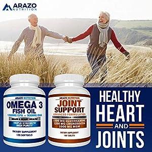 Omega 3 Fish Oil 4,080MG - High EPA 1200MG + DHA 900MG Triple Strength Burpless Capsules - Arazo Nutrition (120 Count)
