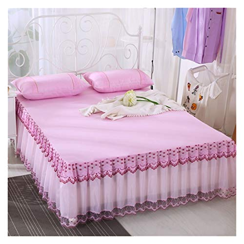 HNTKSM Bed Skirt Bed Base Cover Weiß/Rosa/Lila Spitze Bed Rock Princess Bettwäsche Königin Solid Color 1 / 3pcs Bedspreads for Mädchen Bettlaken Set Kopfkissenbezug