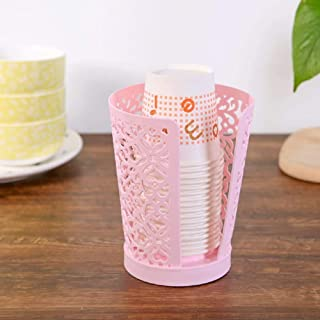 Home-organizer Tech 3 Pack Disposable Paper Cup Dispenser for Bathroom Countertops (Pink)