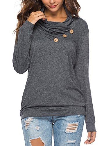 KISSMODA Damen Langarm Cowl Neck Sweatshirt T-Shirts Tops Dunkelgrau Medium