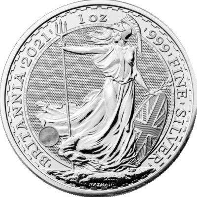 Silbermünze New!!! Britannia 2021 incl. Münzkapsel, 1 Unze, Differenzbesteuert nach § 25a UstG