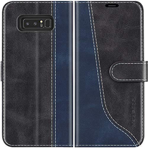 Mulbess Handyhülle für Samsung Galaxy Note 8 Hülle Leder, Samsung Galaxy Note 8 Handy Hülle, Modisch Flip Handytasche Schutzhülle für Samsung Galaxy Note 8, Schwarz