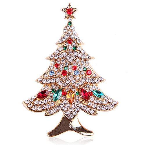 Reizteko Brooch Lapel Pin Shawl Clip Corsage in Crystal Rhinestone Alloy, Jewelry Gift For Women Men (Xmas Tree)