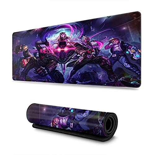 Ezreal Vi Shen Sona League Legends Large Gaming Mouse Pad with Water-Resistant Long Foldable Keyboard Mat for Work Gaming
