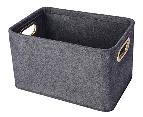 Collapsible Storage Bins Foldable Felt Fabric Storage Basket Organizer Boxes Containers with Handles Metal Handles for Nursery Toys,Kids Room,Clothes,Towels,Magazine