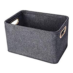 Minoisome Collapsible Storage Bins Foldable Felt Fabric Storage Basket Organizer Boxes Containers with Handles Metal Handles for Nursery Toys,Kids Room,Clothes,Towels,Magazine