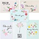 72-Pack gracias postales Bulk–Festival de flores gracias tarjetas de Nota Papelería Set, 6diseños, 4x 6pulgadas