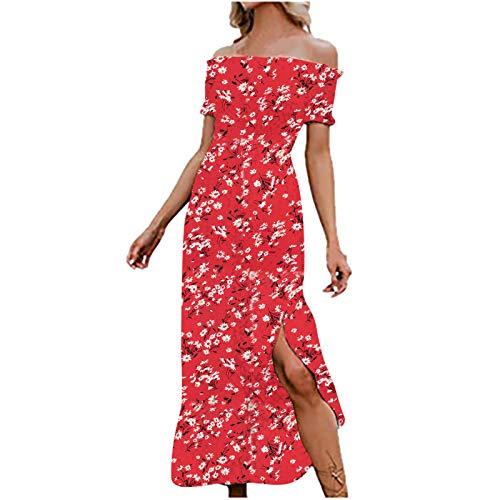 Vestidos de sol para mujer, vestido bohemio, lindo, vestido floral, vestido de verano, vestido maxi rojo S