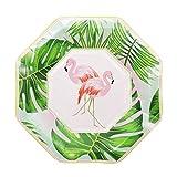 lhmlyl Platos CumpleañOsCumpleaños Kid Party Favor Pink/Blue Gold Foil Paper Plate Cup Servilletas Party DIY Decoración Flamingo Desechable Vajilla Suministros-8 Piezas de Placas