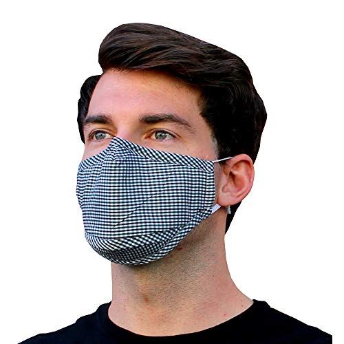 Blue Plaid Gingham Mask with Nose Wire and Zipper Filter Pocket Adjustable Ear Loop Elastic Strap Padded Chin Cover 3 Layer Soft Comfortable Cute Luxury Fashion by Millennials In Motion