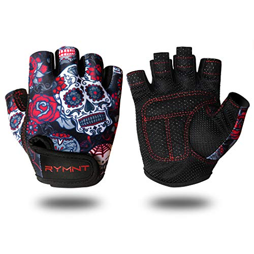 ZEROFIRE RYMNT Workout Gloves for Women Men, Weight Lifting Fingerless Gloves w/Grip-Lock Palm Padding for Fitness Exercise, Crossfit Training, Powerlifting, Gym, Cycling(Skull&Rose,Small)
