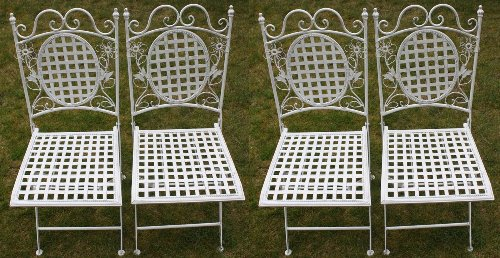 Maribelle White Square Metal Floral Designed Folding Outdoor Garden Patio Chairs X 4