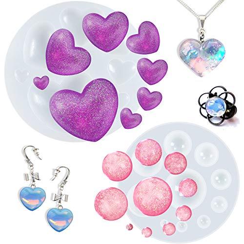 Cabochon - Moldes de silicona de resina epoxi, corazón, cúpula para decoración de pasteles de fondant, arcilla de polímero, fabricación de joyas, juego de 2 pulgadas