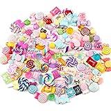 Ddfly 100 Stück gemischte Süßigkeiten Schleim Charms Set niedlich Harz Flatback Schleim Perlen machen Zubehör für DIY Scrapbooking Basteln verschiedene Farben und Formen