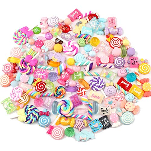 Ddfly 100pcs Mixed Candy Sweets Slime Charms Set Cute Resin Flatback Slime Beads Making Supplies for DIY Scrapbooking Crafts, Assorted Colors and Shapes